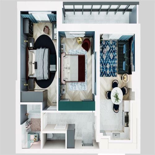 ЖК «Чкалов» - Квартира №302, 3-комнатная студия, 65.54м2