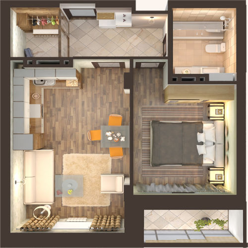 Жилой Комплекс «Красен Хаус» - Квартира №4, 2-комнатная студия, 44.95м2