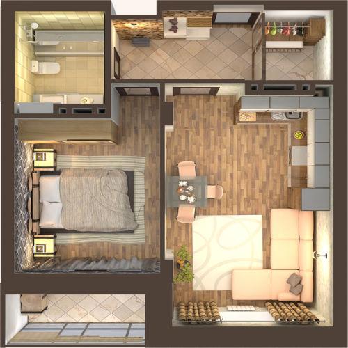 Жилой Комплекс «Красен Хаус» - Квартира №5, 2-комнатная студия, 44.95м2