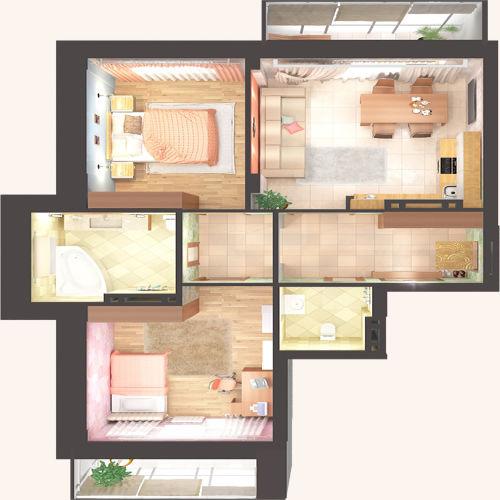 Жилой Комплекс «Красен Хаус» - Квартира №7, 3-комнатная студия, 67.5м2