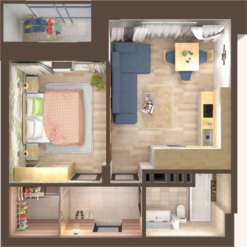 Жилой Комплекс «Красен Хаус» - Квартира №8, 1-комнатная, 37.34м2