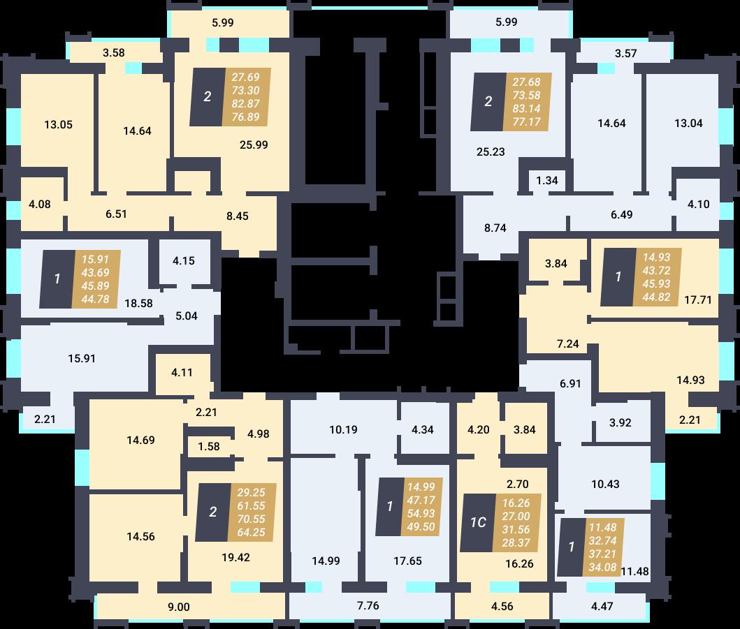 Жилой Комплекс «Калининский-3» - дом 27 стр., подъезд 1, этаж 3