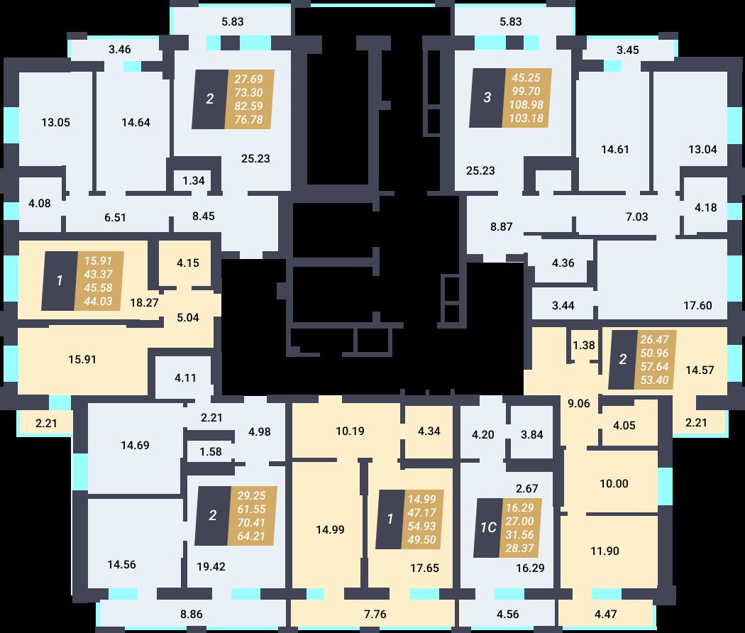 Жилой Комплекс «Калининский-3» - дом 27 стр., подъезд 1, этаж 12